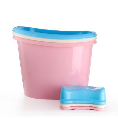 婴儿浴桶宝宝洗澡桶儿童浴桶加厚可坐洗澡盆大人沐浴