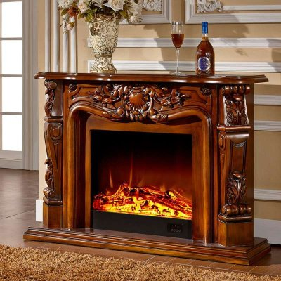 帝轩名典 欧式白色壁炉装饰柜 1.2米美式电视柜壁炉架 真火壁LED炉芯