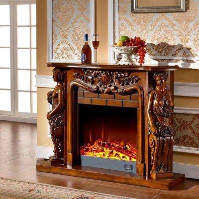 1.33米欧式壁炉 象牙白深色古典壁炉架 实木壁炉柜套装 装饰取暖F031