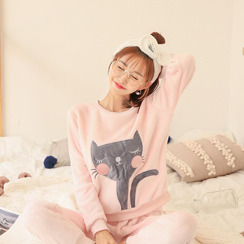 锦序秋冬简约纯色水貂绒小猫加绒女生唯美可爱圆领睡衣套装