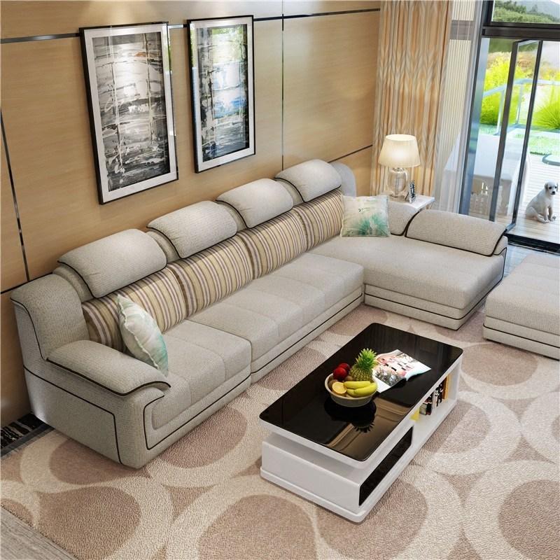 尚宅好e家 免洗布沙发现代简约客厅转角贵妃大小户型可拆洗布艺沙发