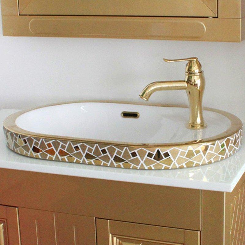 佰饰(baishi)台上洗手盆 台上盆陶瓷面盆 欧式洗脸台椭圆形 艺术台盆