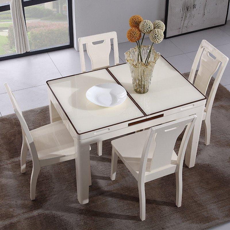 全友家居 现代简约餐桌椅组合 可伸缩小户型钢化玻璃饭桌 加长餐桌长