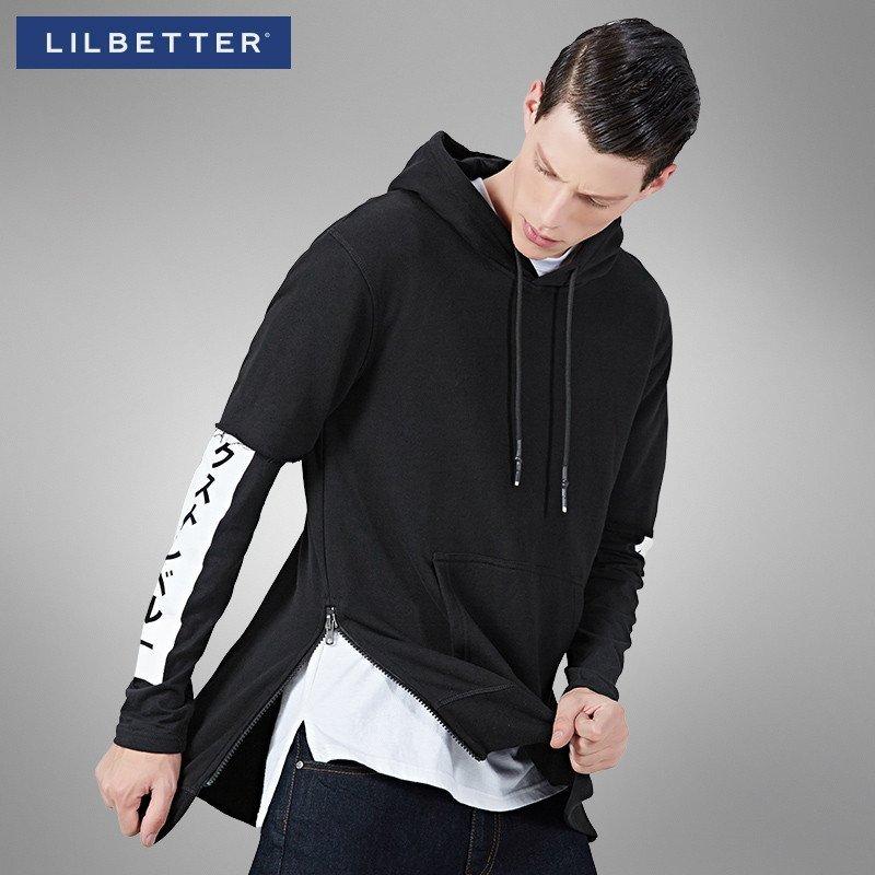 男士卫衣_lilbetter男士卫衣 中长款假两件卫衣袋鼠兜运动宽松版连帽卫衣男
