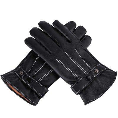 春笑保暖手套冬季防風防滑手套戶外開車騎車出行時尚皮革手套觸屏手套 均碼