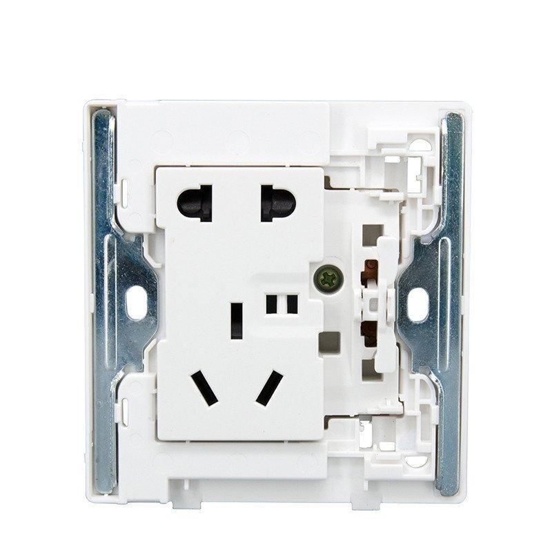 正泰电工墙壁开关插座2d象牙白大面板一开单控五孔插座10a