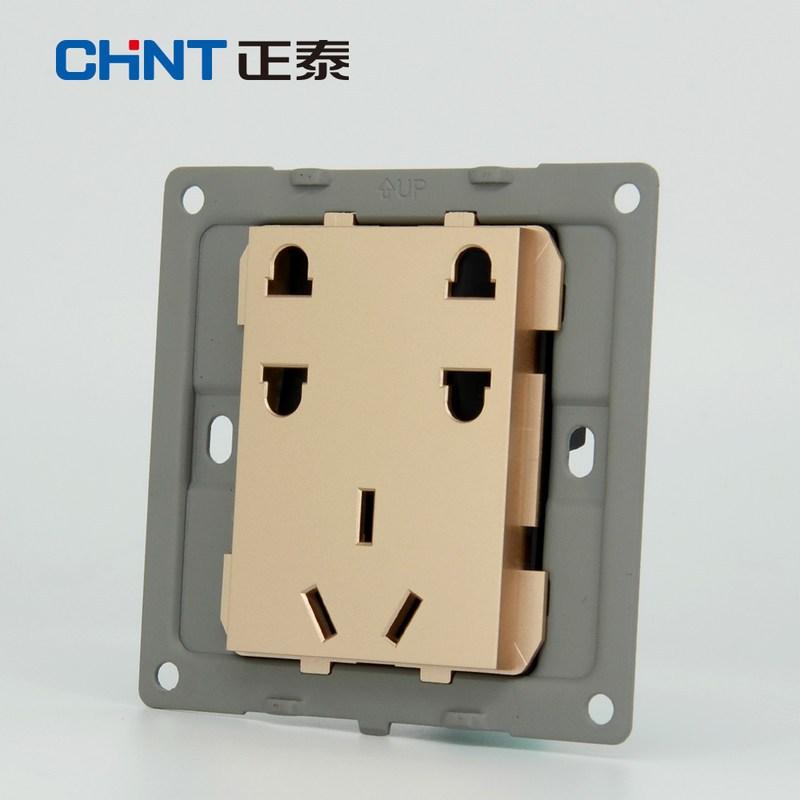 正泰墙壁开关插座 newe7a 香槟金插座面板 七孔电源插座面板10a