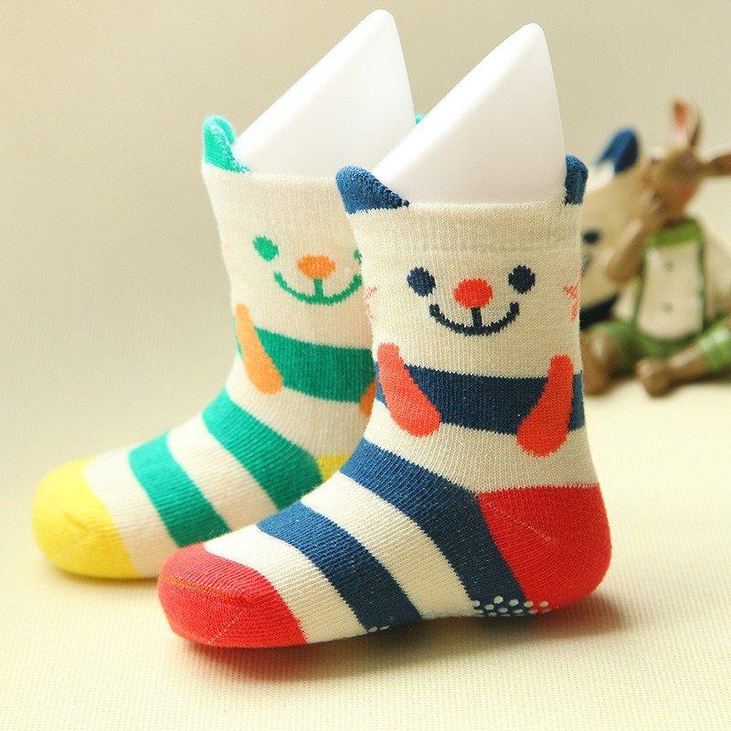 喜安贝 2双装儿童袜子宝宝秋冬全棉防滑点胶儿童袜子可爱立体耳朵纹松