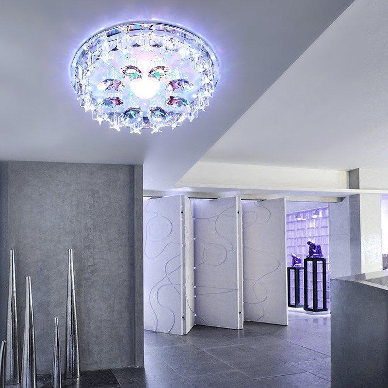 凯晶堡led过道灯圆形水晶过道10w走廊门厅吸顶灯吊顶天花灯入户灯7688