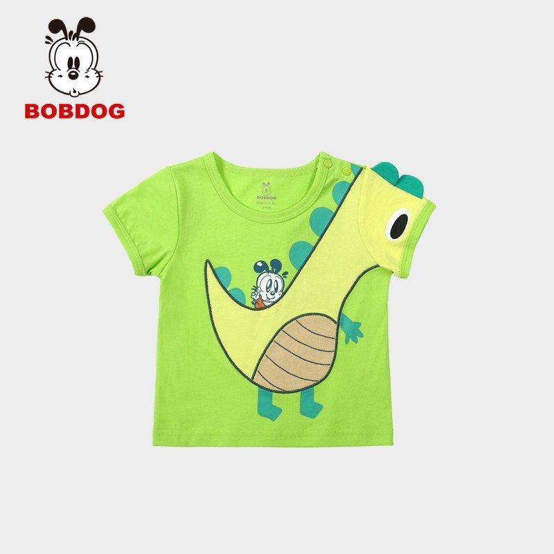 巴布豆童装男童短袖t恤幼儿夏装宝宝衣服可爱仿生小恐龙t恤