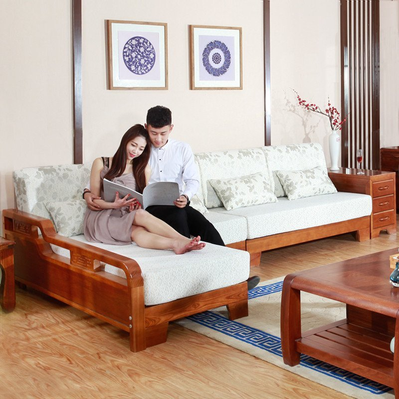 xiyingmenjiasi水曲柳实木沙发组合现代中式简约推拉