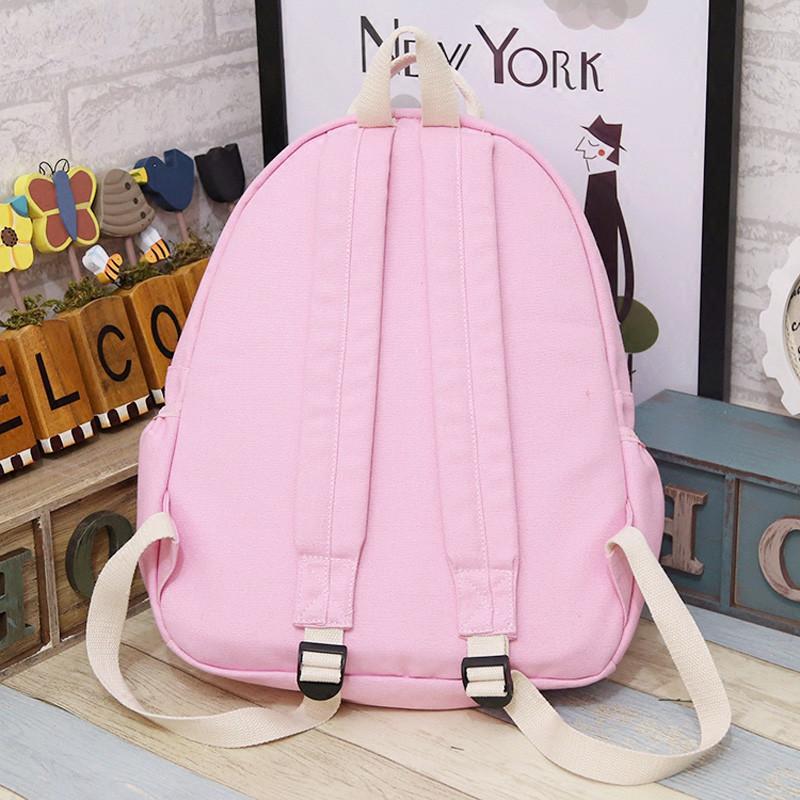 爱洛戈特 新款印花卡通云朵双肩包韩版可爱帆布中学生女生书包背包a