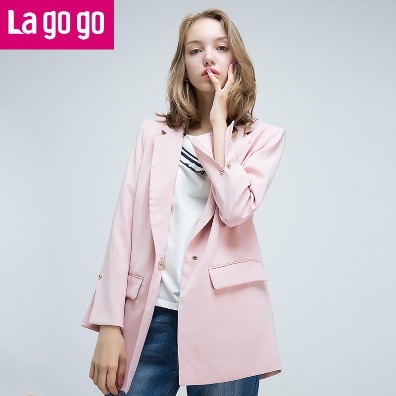 lagogo/拉谷谷2017年秋新女装袖口开叉西装翻领设计外套女一粒扣