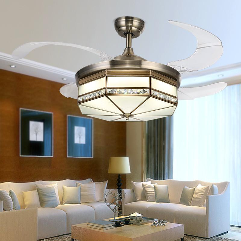 博仕尼全銅隱形扇葉led變光吊扇燈簡約現代餐廳風扇燈歐式客廳吊燈