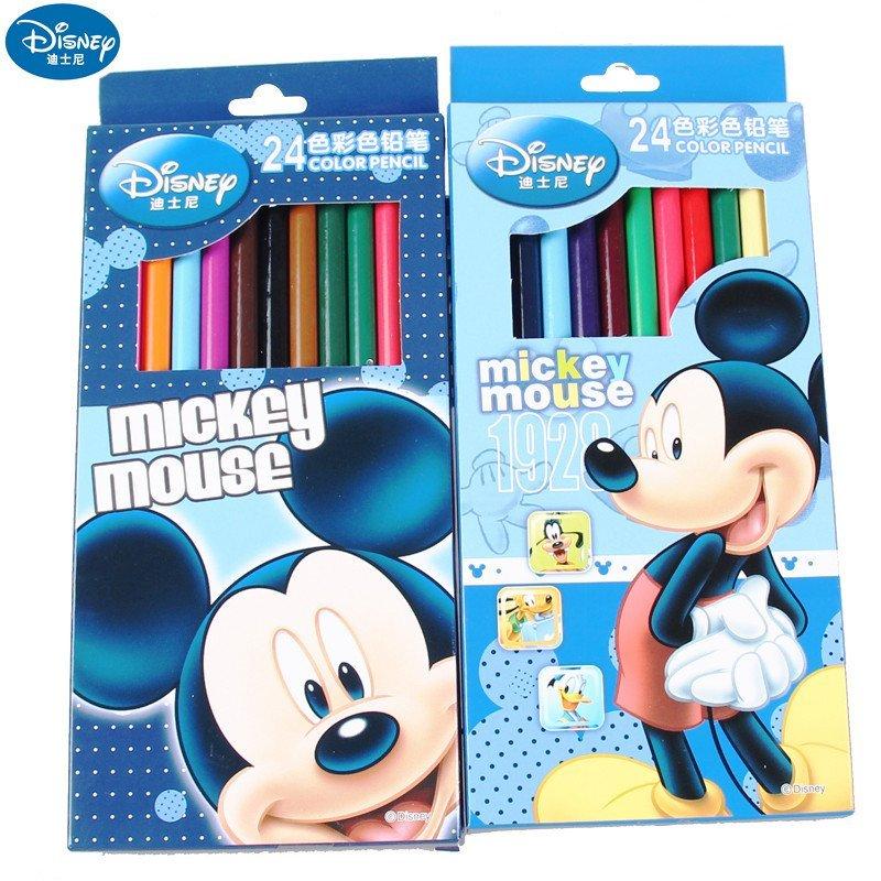 迪士尼米奇24色盒装小学生绘画彩铅 儿童彩色铅笔 卡通彩笔上学必备文