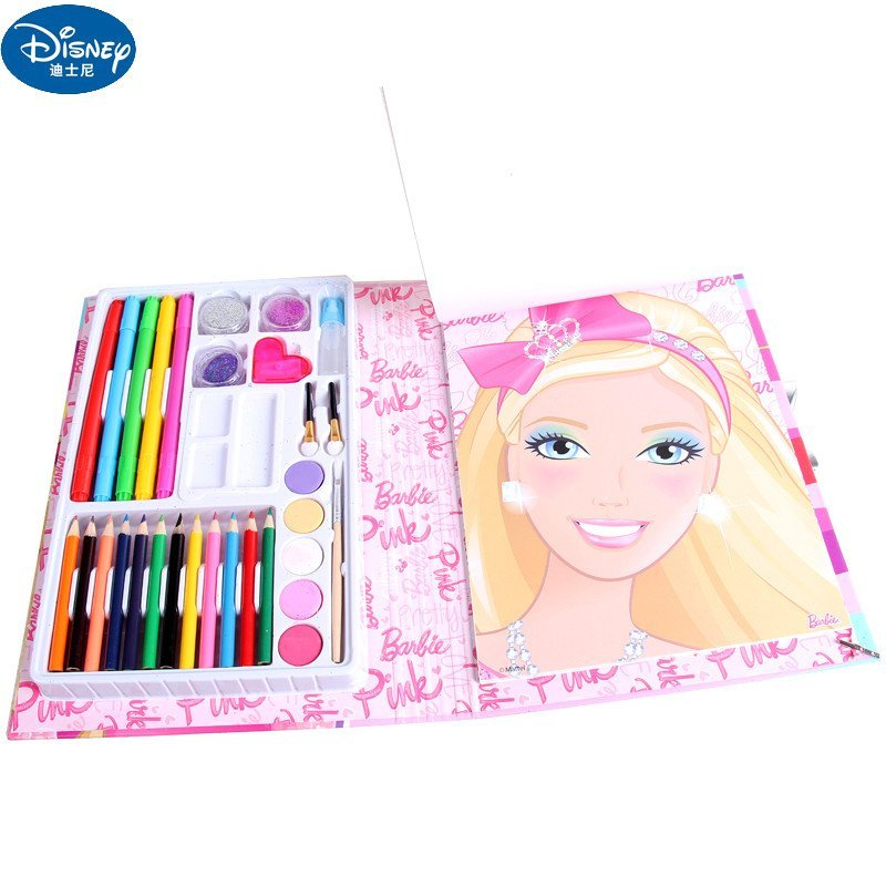 芭比儿童女绘画画工具小学生文具礼盒套装彩妆化妆