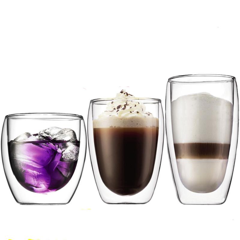 双层玻璃杯隔热透明茶杯创意水杯耐热咖啡杯果汁杯饮料杯子图片