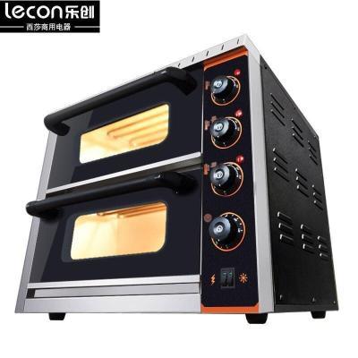 lecon樂創烤箱商用二層二盤兩盤55L大型面包披薩蛋糕大容量加熱管普通加熱電烤箱烘焙單層 電烘爐設備6600W功率