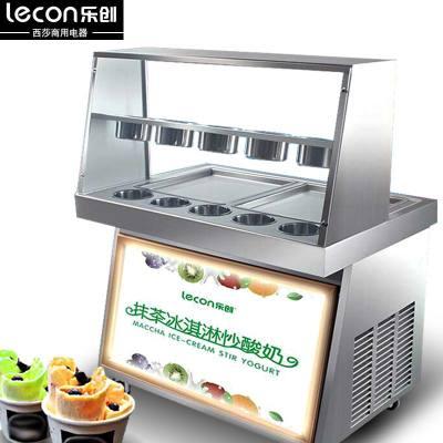 lecon樂創20L容量炒酸奶機炒冰機1600W功率商用炒冰淇淋炒奶30KG產冰量冰激凌卷機雙壓縮機雙鍋極快炒冰粥機