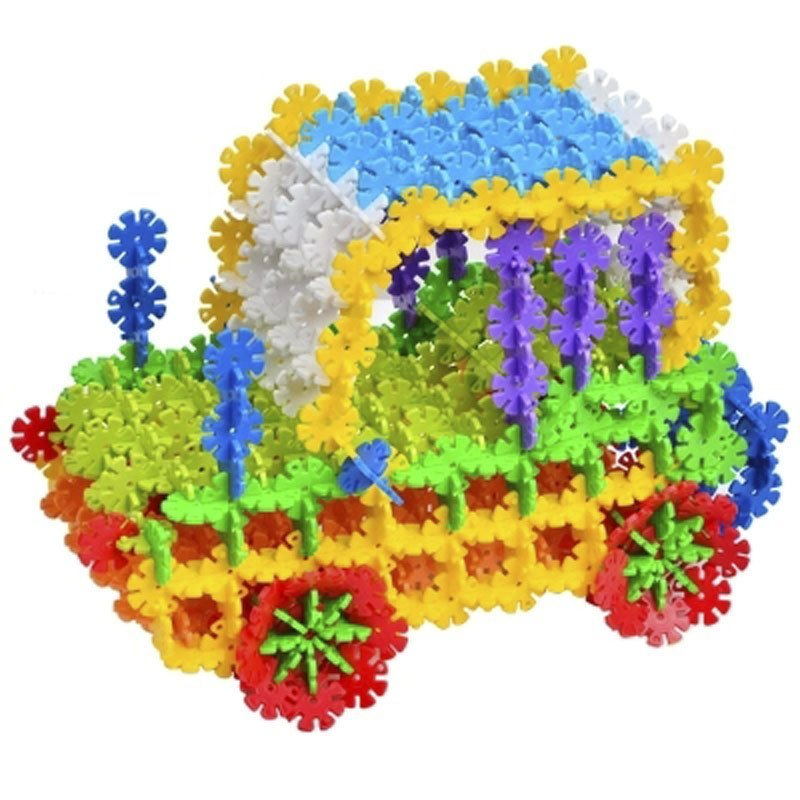 奇粤 雪花片积木儿童玩具 拼图玩具塑料益智积木 球桶装约600片装