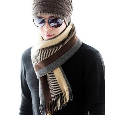 男士冬季保暖装饰围巾 红品HONGPIN韩版时尚条纹男式帅气青年围脖年轻人学生男式长款围巾