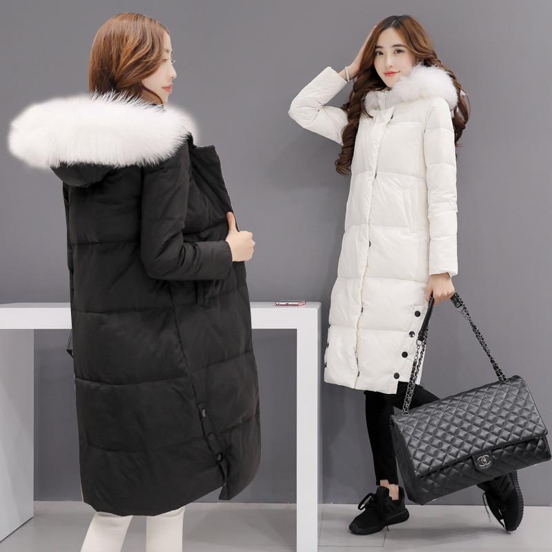 佐露丝女装2017修身羽绒服女中长款韩国冬装新款毛领加厚羽绒衣外套