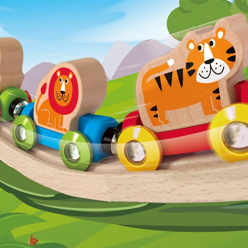 德国hapee3807丛林动物火车宝宝早教启蒙火车轨道玩具