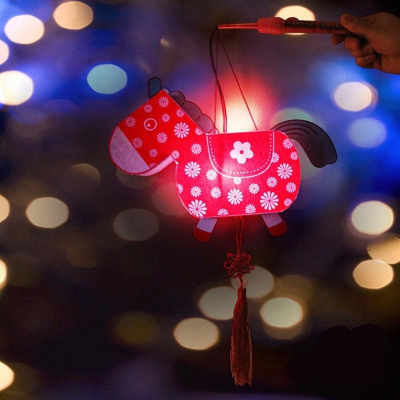 国庆节日小马手提灯笼玩具礼物幼儿园亲子益智力美劳diy手工制作业