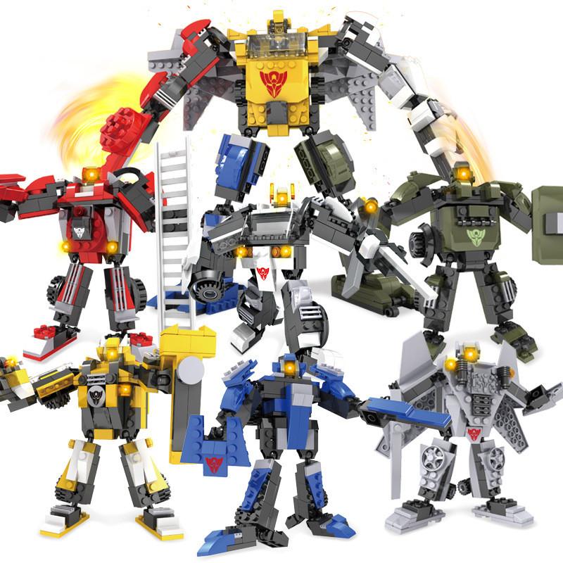 变形积木变机甲拼插启蒙益智拼装玩具儿童玩具酷炫机甲兽神狂鳄暴龙萨