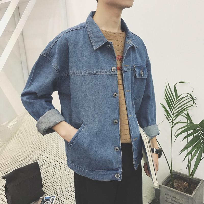 2017秋季新款牛仔外套男夹克大口袋 男士帅气百搭款牛仔外套上衣图片