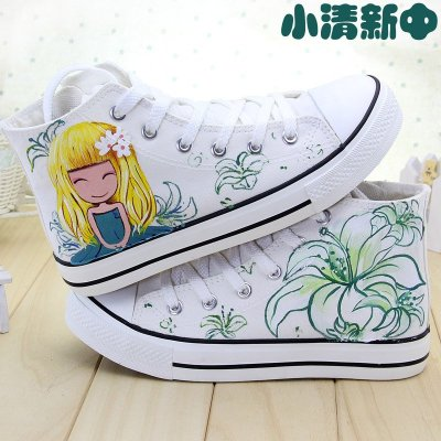 2016春女款运动鞋板鞋清新休闲球鞋手绘插画