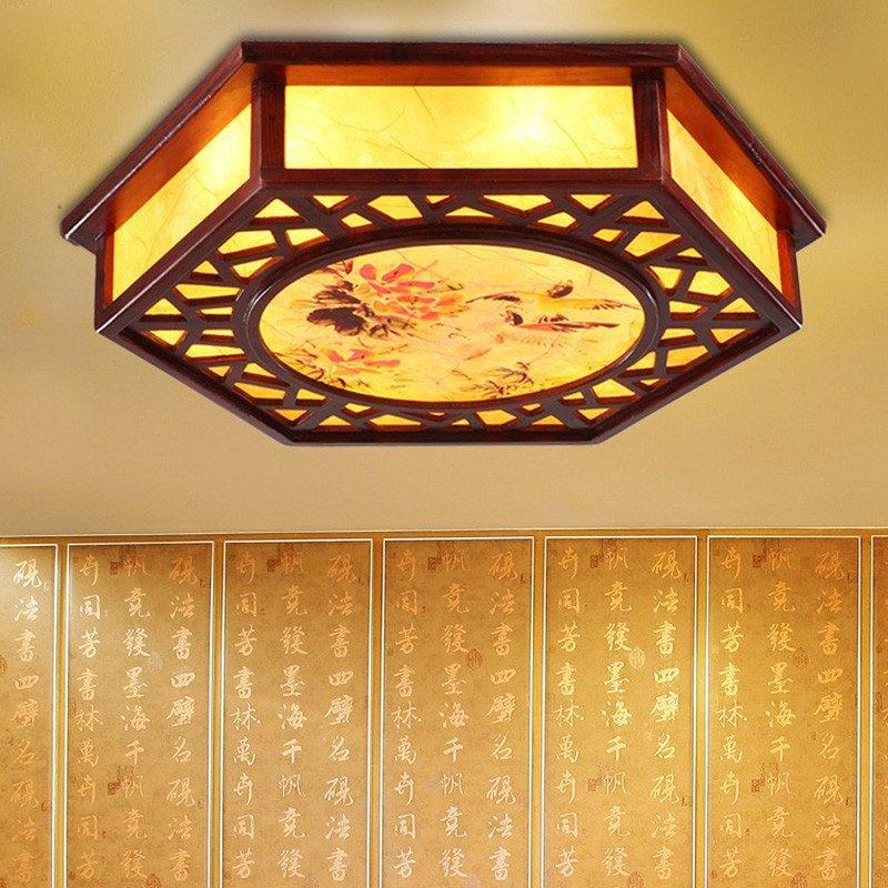 古典中式吸顶灯实木雕刻客厅卧室灯羊皮餐厅灯具鸟语花香1007图片