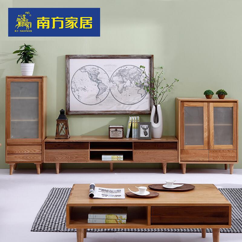 现货 北欧现代简约电视柜 客厅创意地柜 实木玻璃储物
