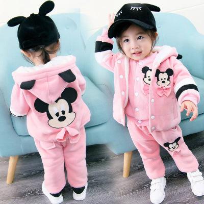 童趣熊PLAYFUL BEAR 儿童韩版童装秋冬童套装女童时尚卡通卫衣三件套婴幼儿服装1015米奇三件套