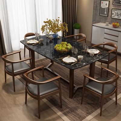 中派 餐桌 現代簡約北歐餐臺實木大理石飯桌餐廳家具套裝歐式客廳