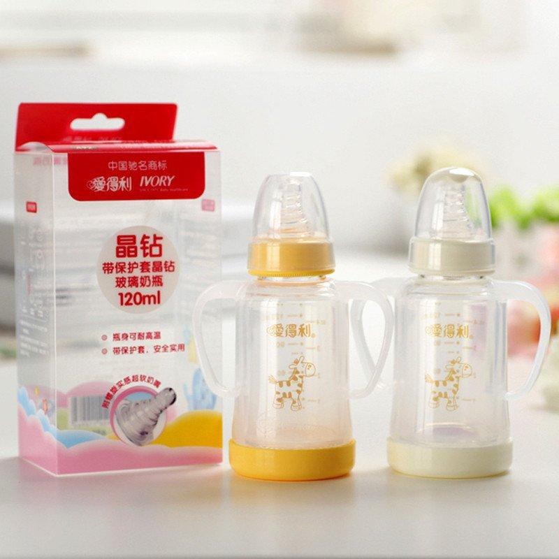 爱得利玻璃奶瓶套装_爱得利奶瓶 玻璃奶瓶防摔婴儿宝宝奶瓶新生儿保护套标准口径120ml a92