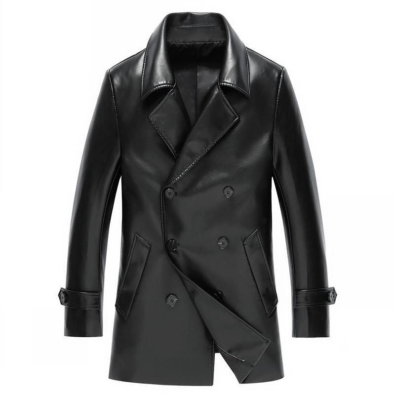 勎霸 皮衣男士中長款皮風衣西裝翻領修身薄單青中年男式夾克外套 韓版圖片