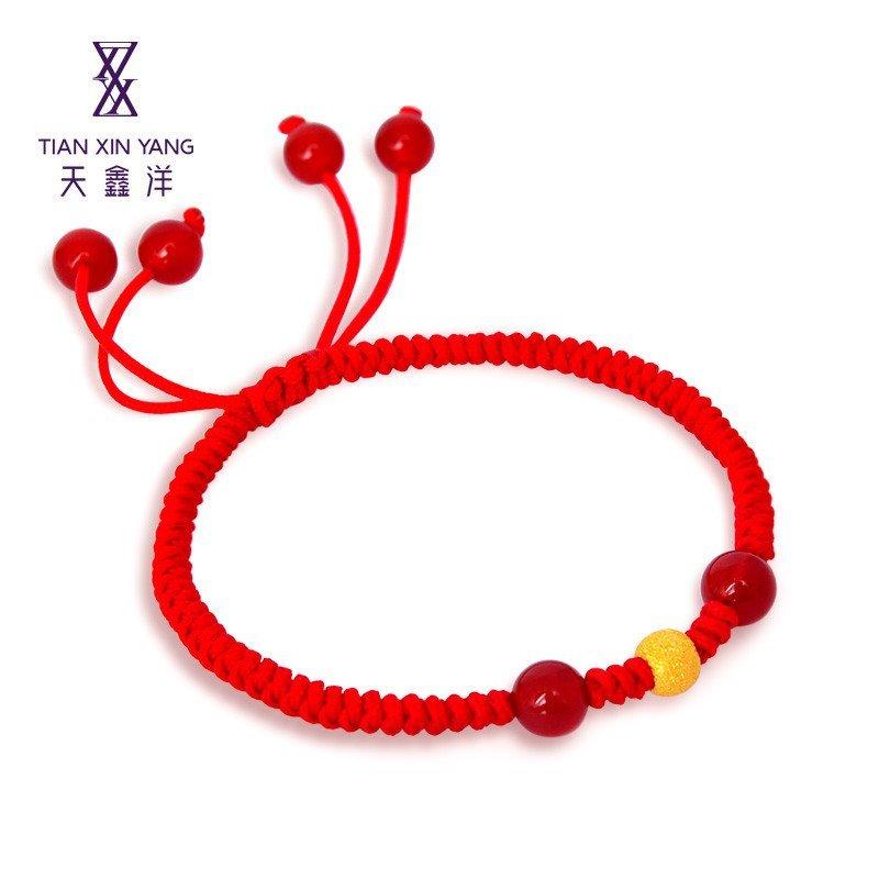 天鑫洋 足金/黄金转运珠编织手链(一颗金重约0.30-0.33克)