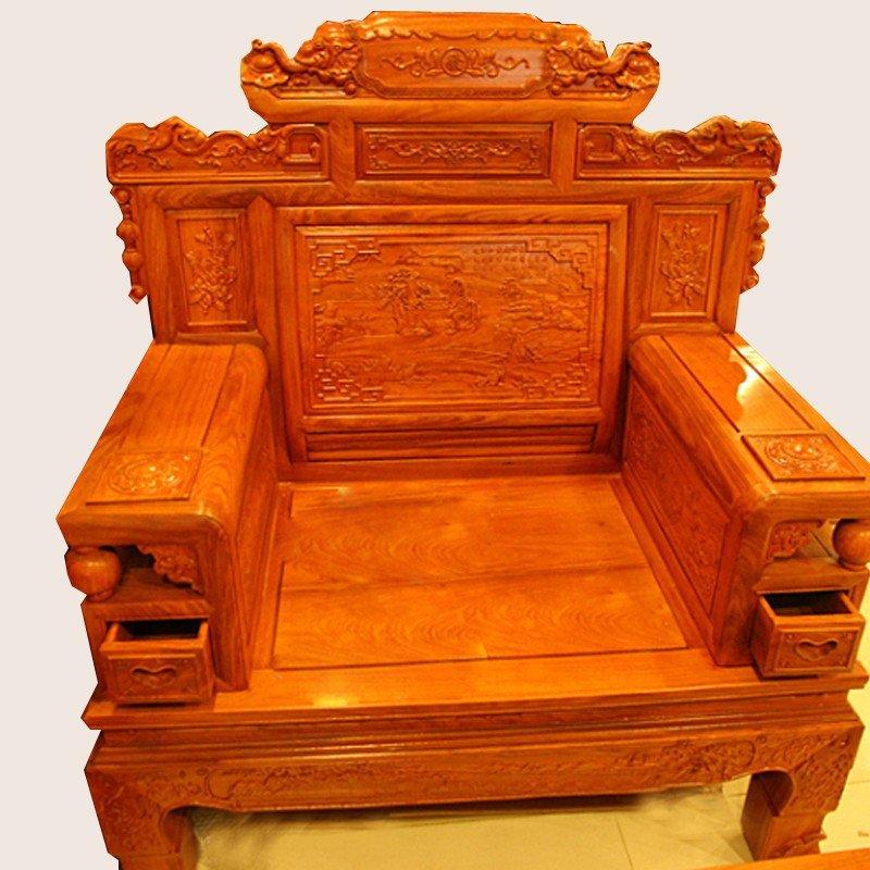 集一美红木家具123红木沙发六件套实木沙发客厅组合非洲黄花梨