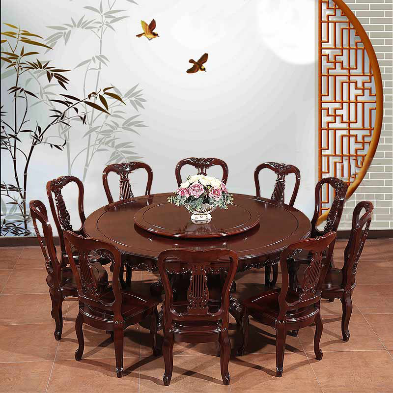 38米红木圆桌1桌8椅餐厅组合雕花吃饭桌