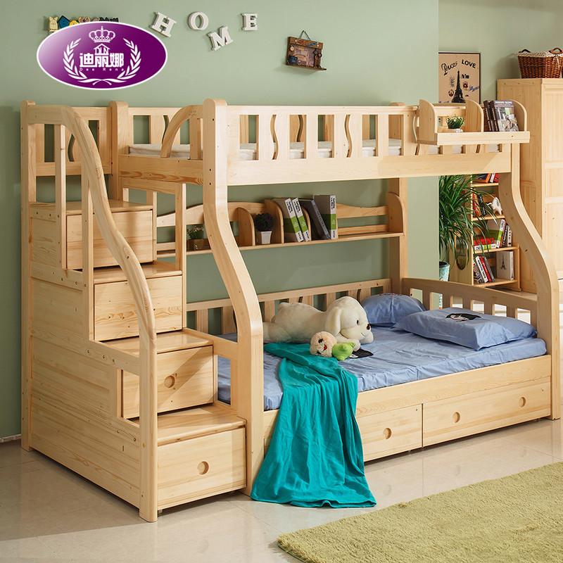 迪丽娜 实木儿童房学生床松木高低床子母床双层床男女孩上下床铺1.