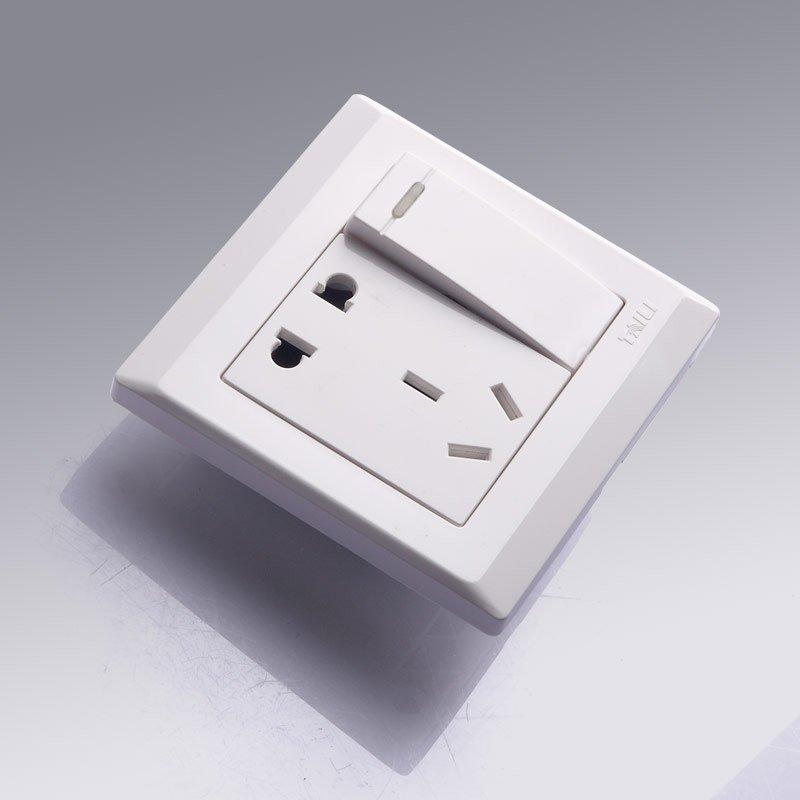 泰力开关插座双控gc系列带开关插座面板一开五孔插座电源插座