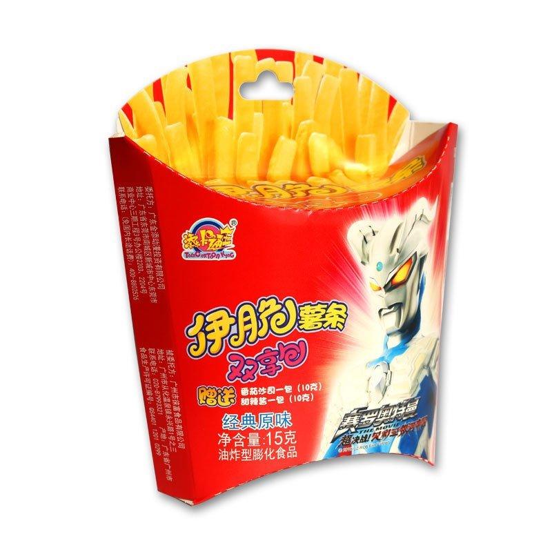 添乐卡通王奥特曼伊脆原味薯条双享包6盒装90g儿童盒装薯条香脆好吃