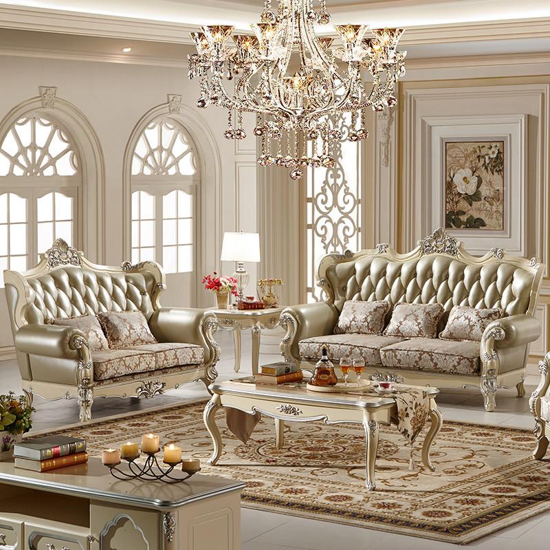 法莉娜 欧式实木沙发组合 法式布艺配皮艺橡木雕花 客厅家具 h86
