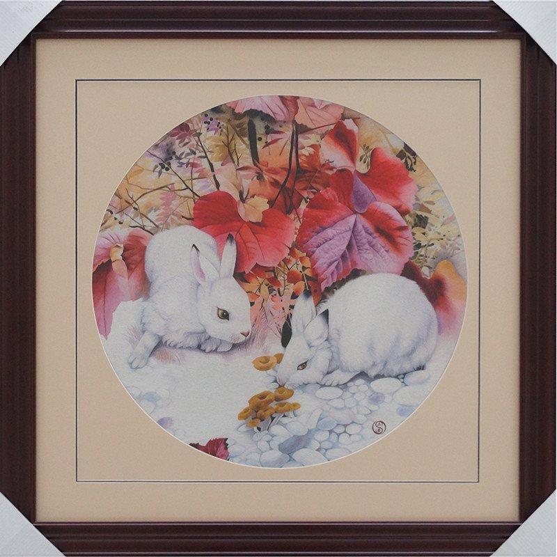真丝刺绣 兔子 外事商务特色创意礼品 中式欧式家居客厅装饰画挂画