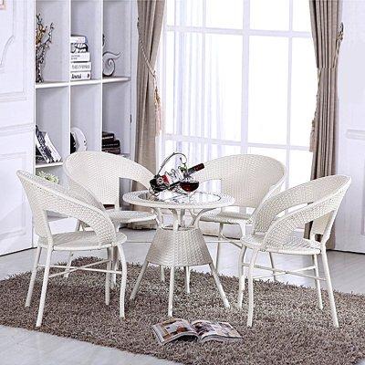 京好 藤椅子茶几三件套装桌子 现代简约环保高档阳台休闲办公户外家具B79