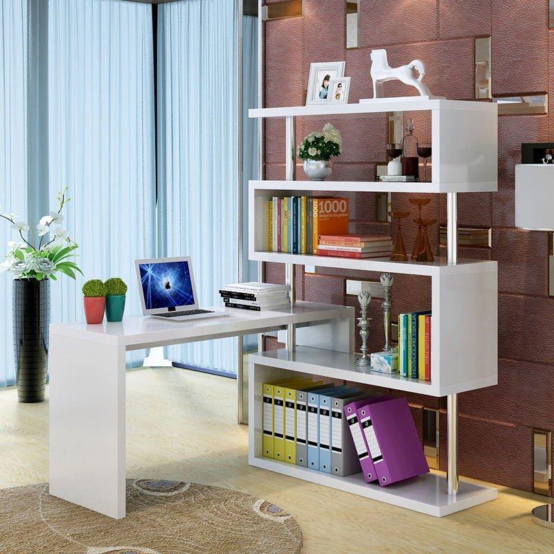 【京好】电脑桌 单人书柜书架组合卧室烤漆 转角写字台a129(10天左右