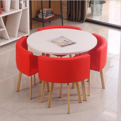 京好 鋼管仿木烤漆桌椅 現代簡約環保戶外陽臺咖啡廳餐廳卡座桌椅組合B146