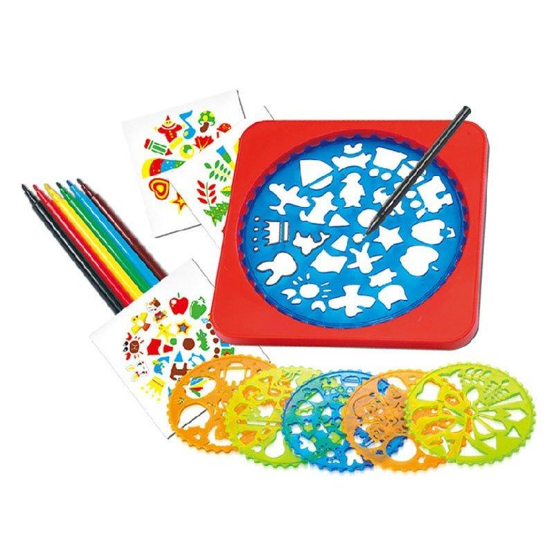 兒童畫畫工具套裝 美術繪畫模版組合彩色畫筆套裝鏤空畫圖形模版 兒童