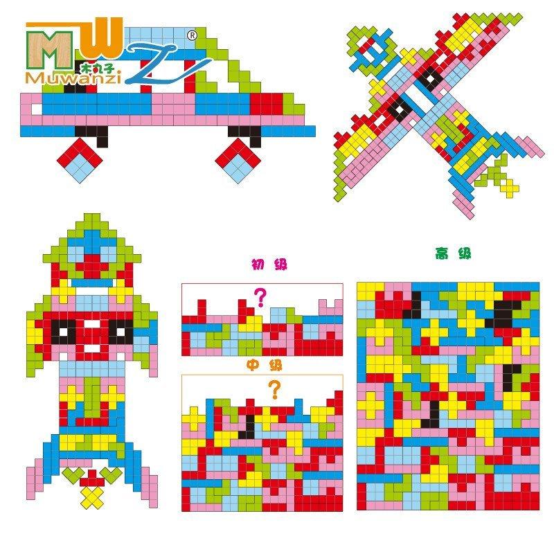 木丸子益智早教木制玩具宝宝拼图拼板积木质巧变俄罗斯方块巧变图片